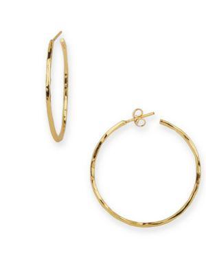 18K Goldplated Sterling Silver Hammered Hoop Earrings 500042977819