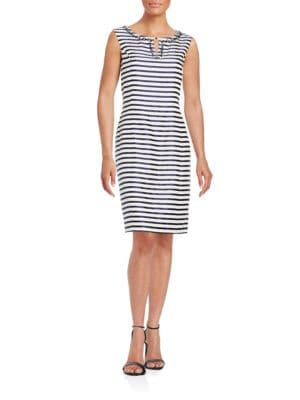 Embellished Striped Sheath Dress by Ellen Tracy