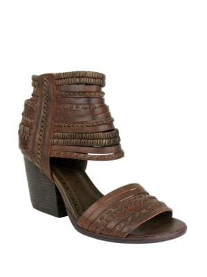 Strappy and Happy Leather Stacked Heel Sandals by Naughty Monkey
