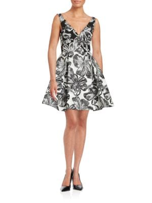 Floral Printed Fit-and-Flare Dress by Vera Wang