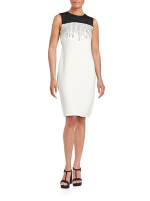 Embellished Colorblocked Sheath Dress by Calvin Klein