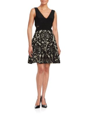Mesh-Accented Fit-and-Flare Dress by Xscape