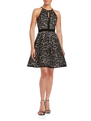 Laser-Cut Overlay Halter Dress by Xscape