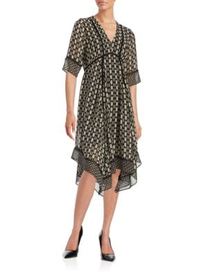Printed V-Neck Dress by Taylor