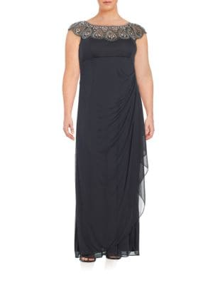 Plus Embellished Mock Wrap Gown by Xscape