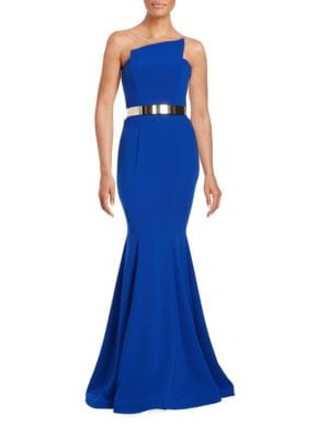 Belted Strapless Gown by Nicole Bakti