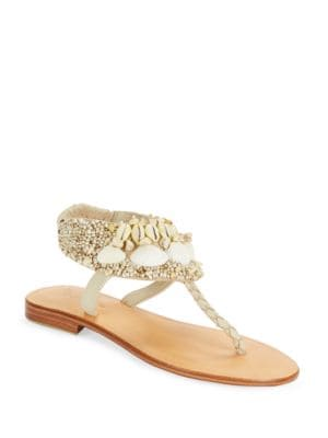 Kauai Leather and Shell Accented Thong Sandals by Cocobelle
