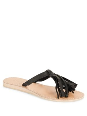 Fringe Leather Toe Ring Sandals by Cocobelle
