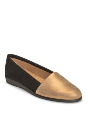 Trend Setter Metallic Leather Loafers by Aerosoles