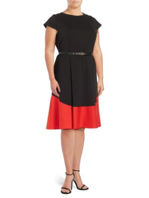 Colorblocked Fit-and-Flare Dress by Calvin Klein Plus