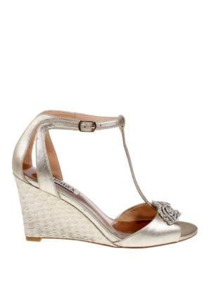 Nedra II Embellished Metallic Leather Wedge Heel Sandals by Badgley Mischka