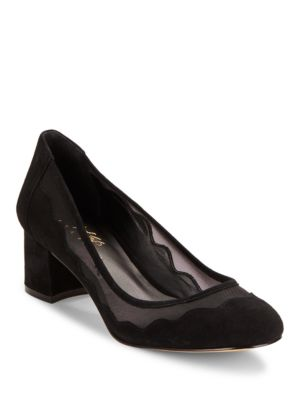 Vinney Mesh-Accented Suede Pumps by 424 Fifth
