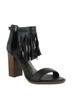 Stacked Heel Leather Sandals by Mia