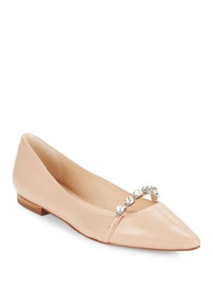 Colette Crystal-Trimmed Leather Pointed-Toe Flats by Karl Lagerfeld Paris