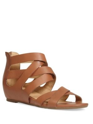 Alea Leather Back Zipper Strap Sandals by Me Too
