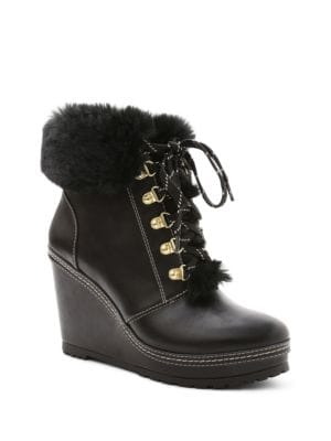 Malee Faux Fur-Trimmed Wedge Ankle Boots by Nanette By Nanette Lepore