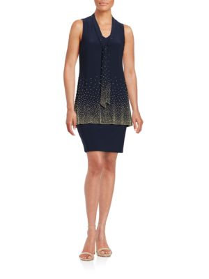 Embellished Tiered Shift Dress by Betsy & Adam
