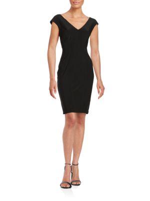 V-Neck Sheath Dress by Calvin Klein