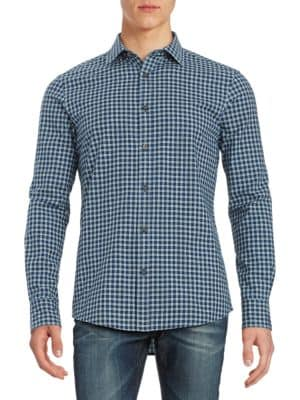 Grid-Print Sportshirt by Highline Collective