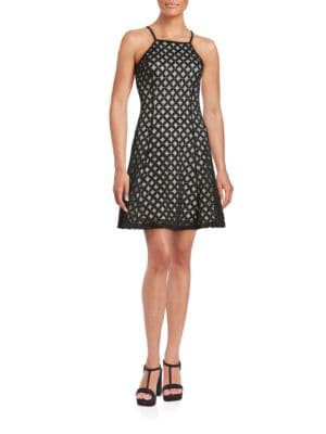 Fit-and-Flare Diamond Cutout Dress by Guess