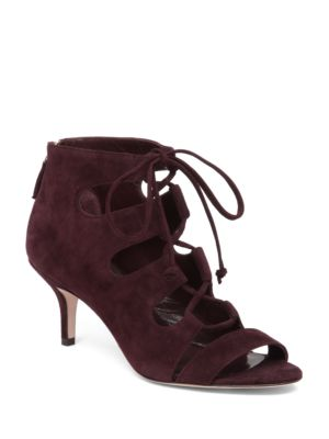 Tryst Suede Lace-Up Booties by Delman