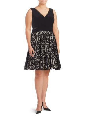 Plus Mesh-Accented Fit-and-Flare Dress by Xscape