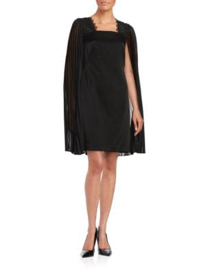 Sheer Cape Shift Dress by Kay Unger