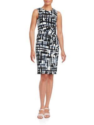 Plus Brushstroke-Print Sheath Dress 500044248458