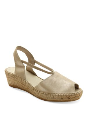 Dainty Fabric Espadrille Wedge Sandals by Andre Assous