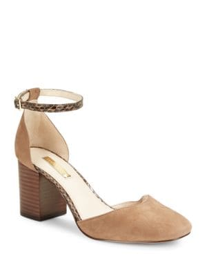 Idina Suede T-Back Heels by Louise et Cie