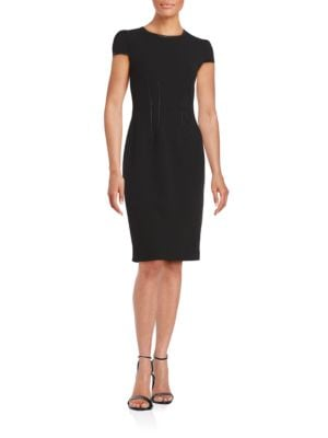 Faux Leather-Trimmed Sheath Dress by Betsey Johnson