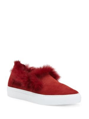 Burke Rabbit Fur-Trimmed Kid Suede Sneakers by Rachel Zoe