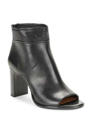 Open Toe Leather Ankle Boots by Donald J Pliner