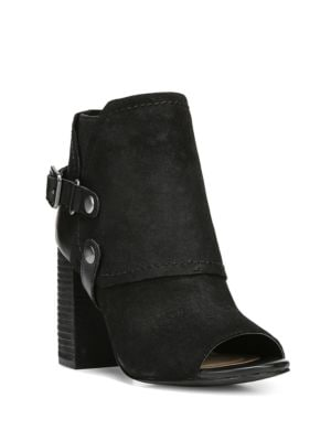 Roland Peep-Toe Western Style Suede Booties by Fergie