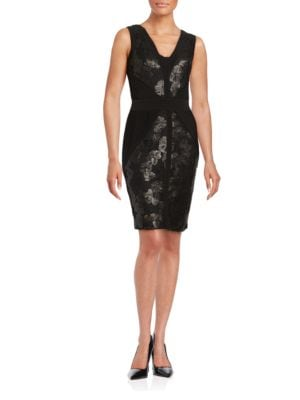 Sequined Lace-Accented Sheath Dress by Calvin Klein