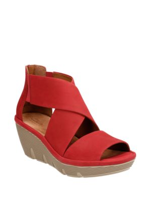 Buy Clarene Glamor Leather Wedge Sandals by Clarks online