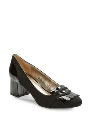 Odonna Suede and Patent Heeled Loafer by Bandolino