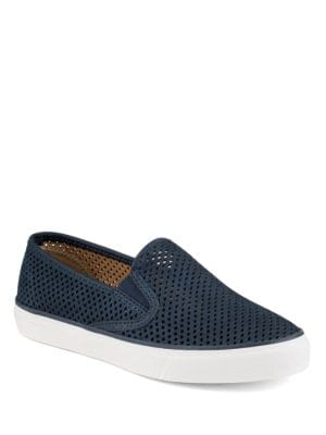 Seaside Perforated Slip-On Leather Sneakers by Sperry