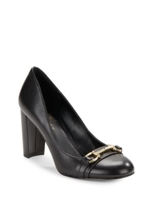 Mady Block Heel Leather Pumps by 424 Fifth