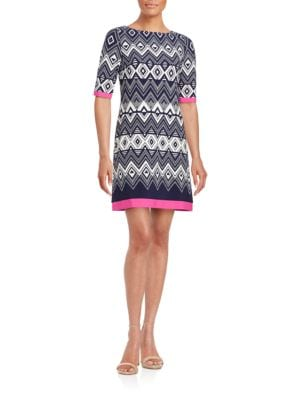 Geometric Contrast Shift Dress by Eliza J