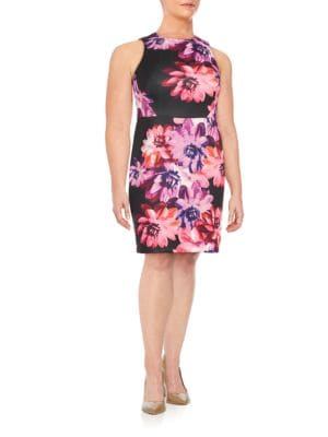 Floral-Print Sleeveless Sheath Dress by Vince Camuto Plus