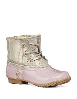 Chloe Classic Whipstitch Metallic Leather & Rubber Boots by Jack Rogers