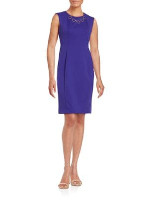 Chain-Accented Sheath Dress by Calvin Klein