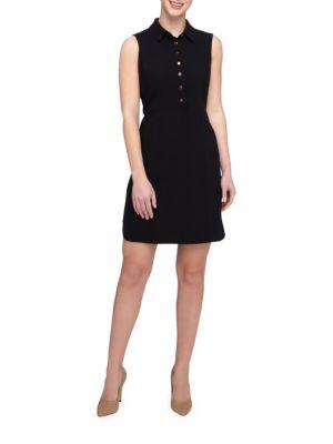Spread Collar Sleeveless Shirtdress by Tahari Arthur S. Levine