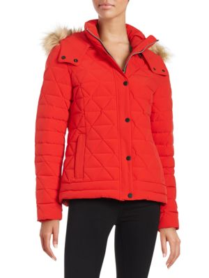 Faux Fur Trimed Down Puffer Coat by Marc New York