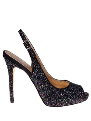 Elvie Glitter Platform Slingback Sandals by Belle Badgley Mischka