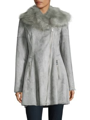 Faux Fur-Accented Flared...