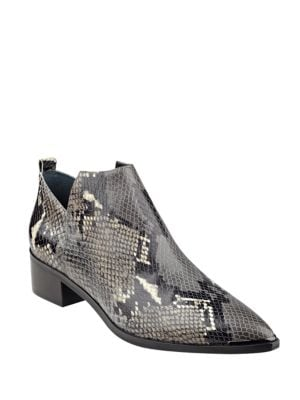 Yamir Point-Toe Snake-Embossed Leather Booties by Marc Fisher LTD