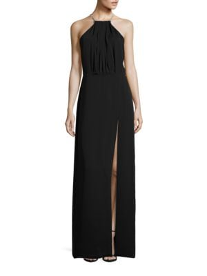 Chain Detail Halter Gown by Halston Heritage