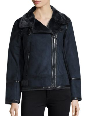 Faux Fur-Lined Moto Jacket...